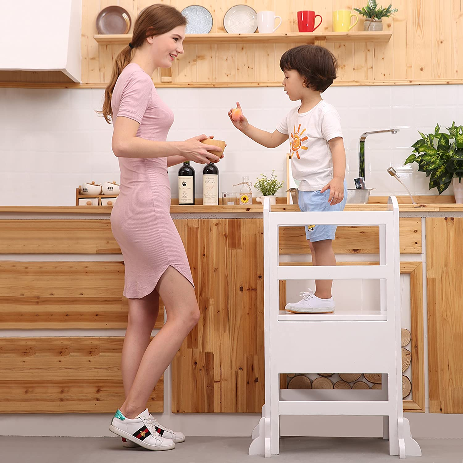 UNICOO- Height Adjustable Kids Learning Stool Toddler Stool with Safety Rail-Solid Hardwood Construction Kids Kitchen Step Stool Burlywood-02 Perfect for Toddlers