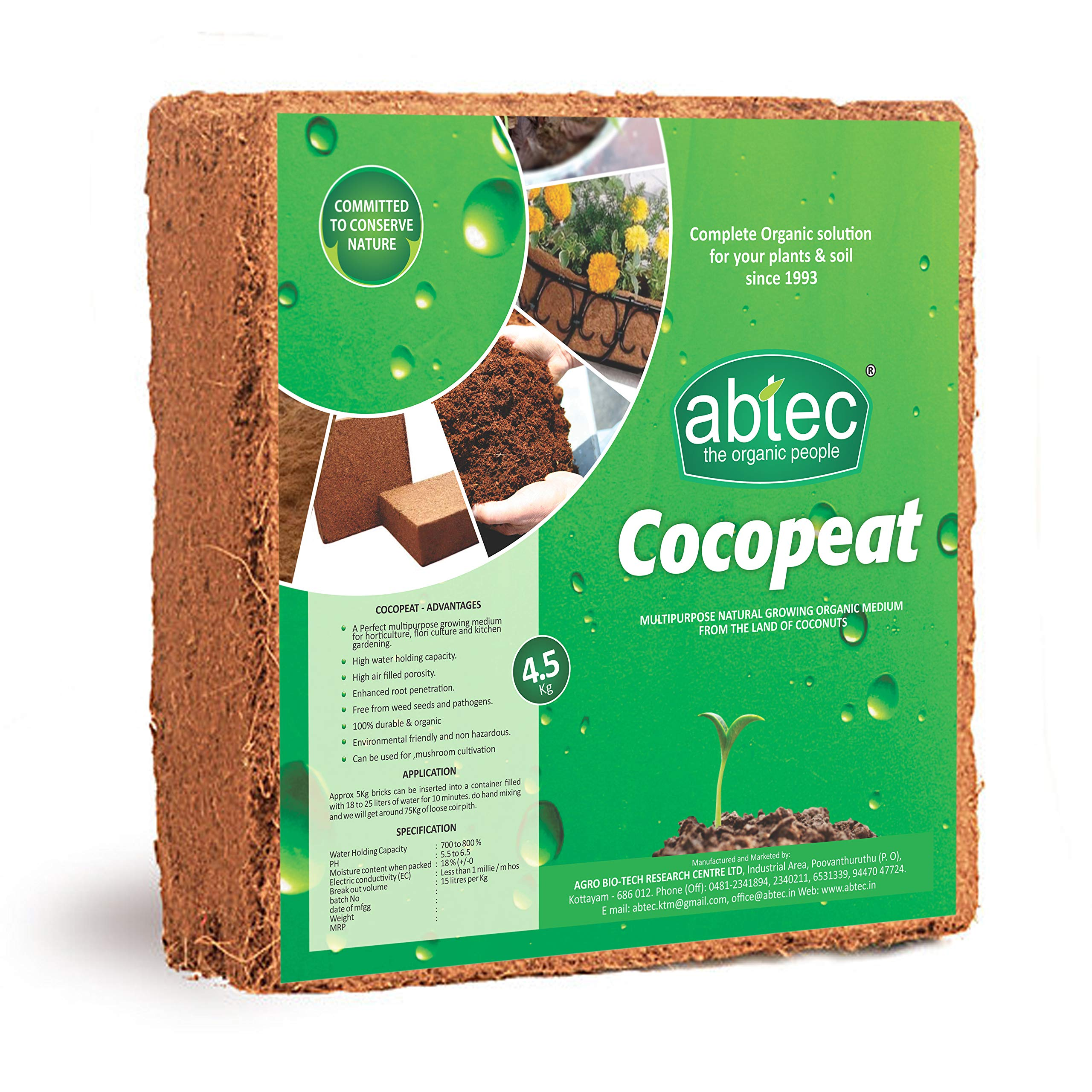 abtec Cocopeat The Best Natural Plant Growing Medium for All Type Plants Expands to 75 L of Coco Peat Powder; 4.5 Kg (Brown; 30 X 30 X 15 Cm) (B01EJC26OM) Amazon Price History, Amazon Price Tracker