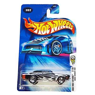 Hot Wheels 2004-002 First Editions 1969 Dodge Charger BLACK w/Flames 1:64 Scale: Toys & Games