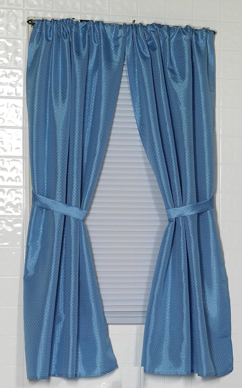 Carnation Home Fashions Lauren Dobby Fabric Bathroom Window Curtain, 34-Inch by 54-Inch, Light Blue