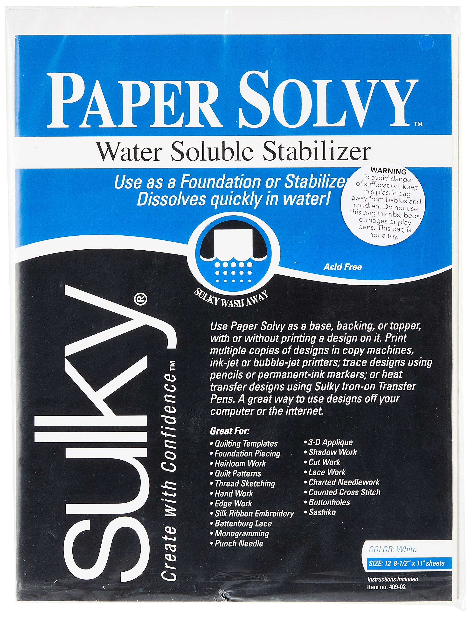 Sulky Paper Solvy Water Soluble Fabric stabilizer, 8, White