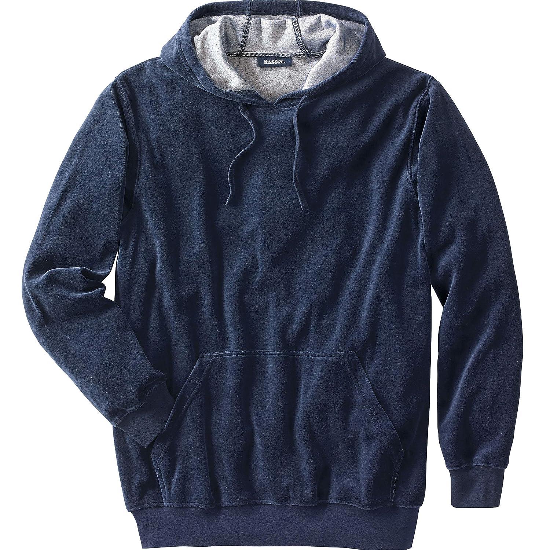 KingSize Mens Big /& Tall Velour Long-Sleeve Pullover Hoodie