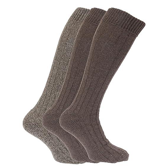 Calcetines largos con mezcla de lana con suela acolchada (Pack de 3) (39/45 EU/Marino/Gris/Negro): Amazon.es: Ropa y accesorios