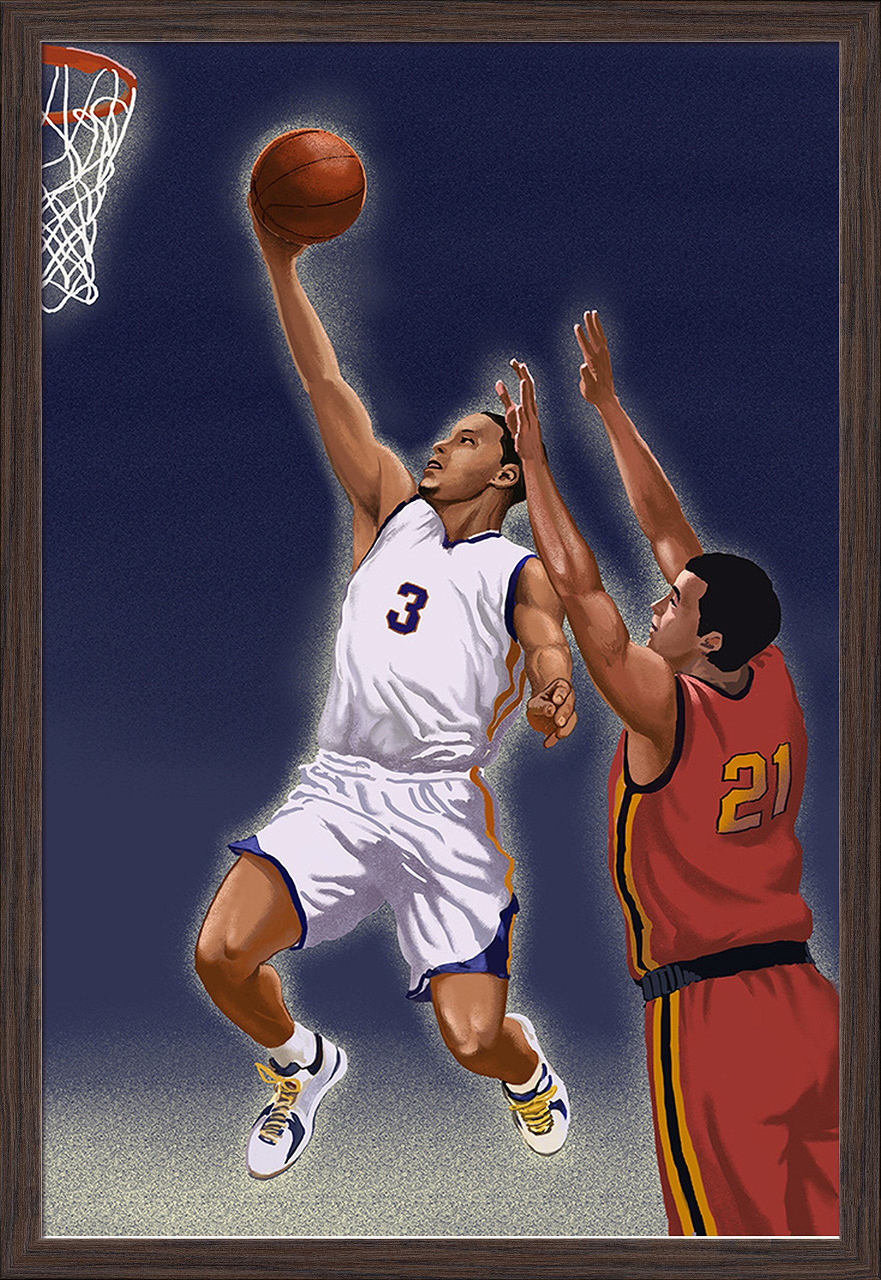 Basketball Player (24x36 Giclee Art Print, Gallery Framed, Espresso Wood)