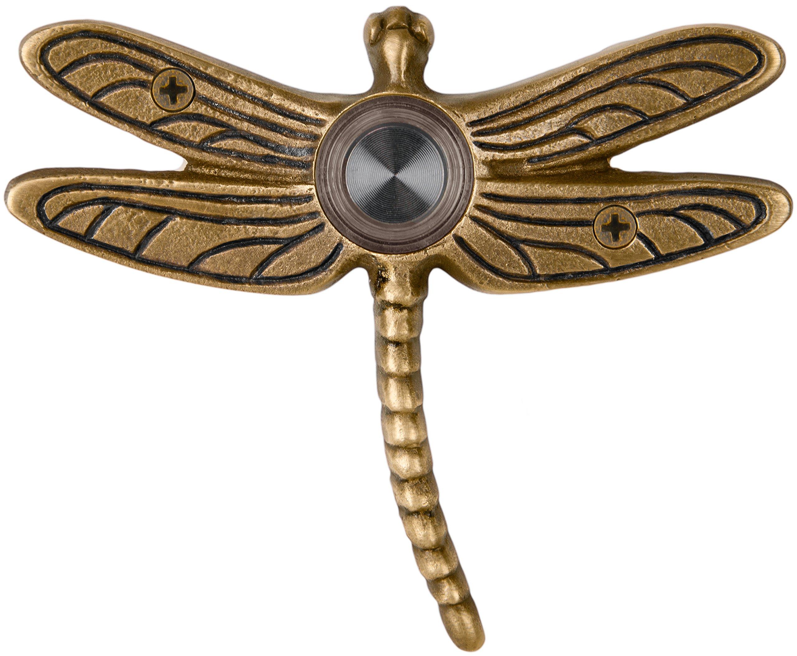 Waterwood Solid Brass Summer Dragonfly Doorbell in Antique Brass