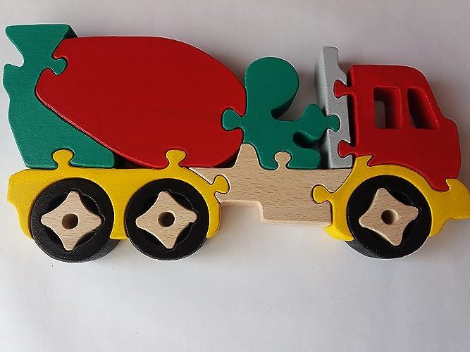 Carro De Rompecabezas De Madera Camión Mezclador De Concreto Hecho A