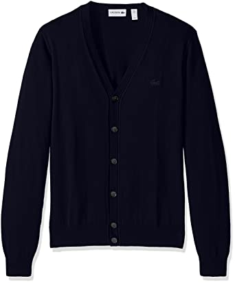 8028c581a5 Lacoste Men's Button Cardigan with Pique Stitch Long Sleeve Sweater,  AH7907-51