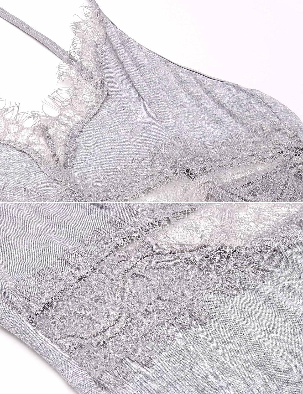 Avidlove Women Modal Full Slip Split Lingerie V Neck Babydoll Sleepwear Gray XXL