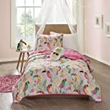4 Piece Girls White Yellow Green Pink Toucan Themed coverlet Full Queen Set, All Over Tropical Birds Bedding, Fun Kids Multi Color Rain Forest Bird Geometric Botanical Leaf Pattern, Polyester
