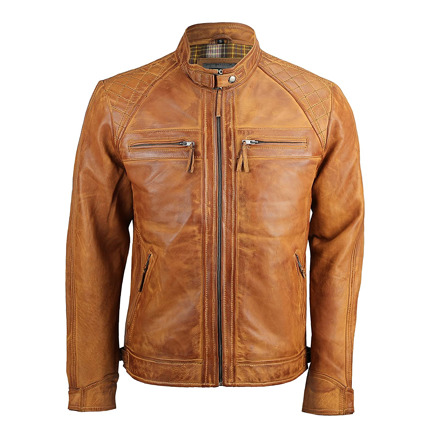 Mens Real Soft Leather Antique Washed Tan Brown Vintage Zipped Smart Casual Biker Jacket