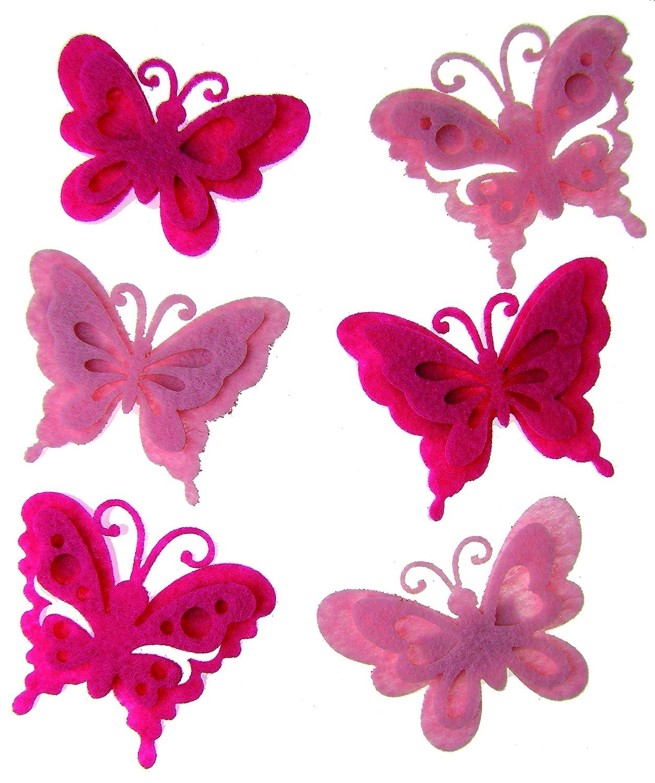 Craftime AC0136C Colour Connection Felt Butterflies, Pink
