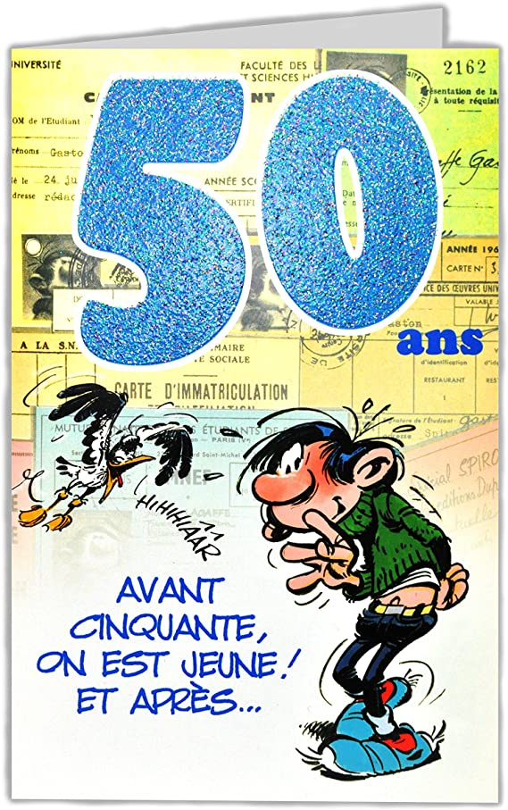 Gaston Lagaffe Glct6026 Bon Anniversaire 50 Ans Homme Femme Avec Enveloppe Illustree Assortie Amazon Fr Fournitures De Bureau