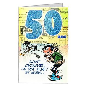 Gaston Lagaffe Glct6026 Bon Anniversaire 50 Ans Homme Femme Avec Enveloppe Illustrée Assortie