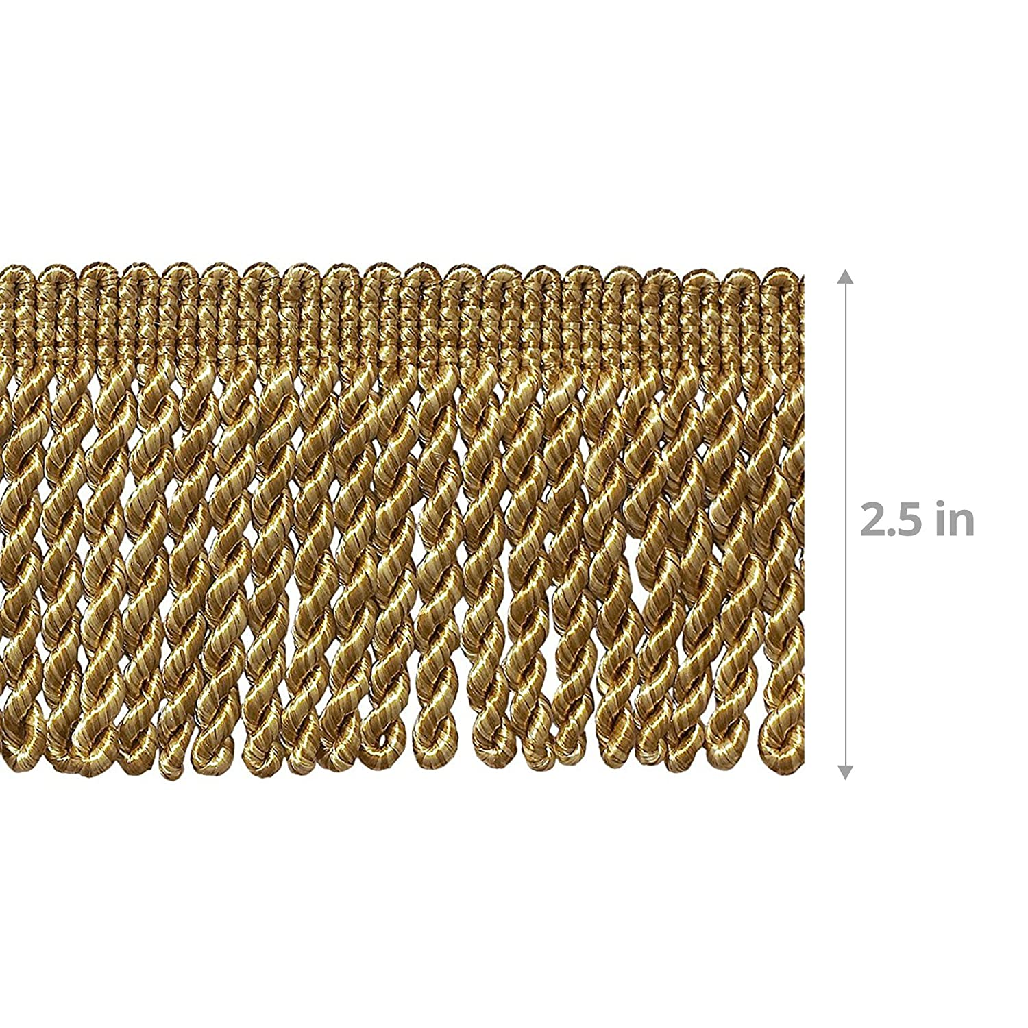 10 Yard Value Pack of Two Tone Gold 2.5 Inch Bullion Fringe Trim 30 Ft  9.5 Meters Style# EF25 Color 8534