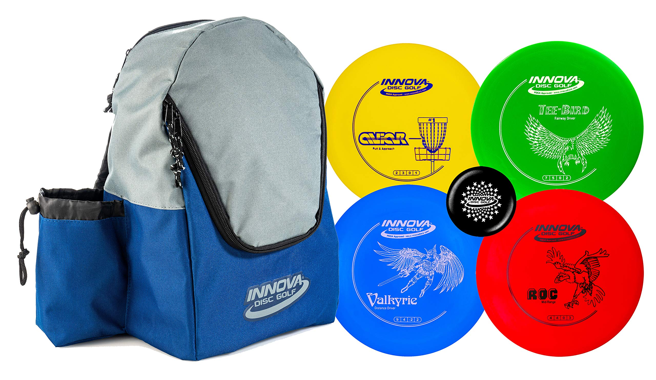 Innova Discs Golf Set with 4 Discs and Discover Disc Golf Backpack - DX Distance Driver, Fairway Driver, Mid-Range, Putter and Mini Marker Disc (Blue/Gray) by Innova Discs