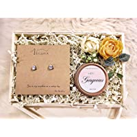 Humble Bee Veileria Floral Gift Box Set Soy Wax Scented Candle Pear shape cubic zirconia Earrings Luxury Gifts for Her Mother's Day wife girlfriend