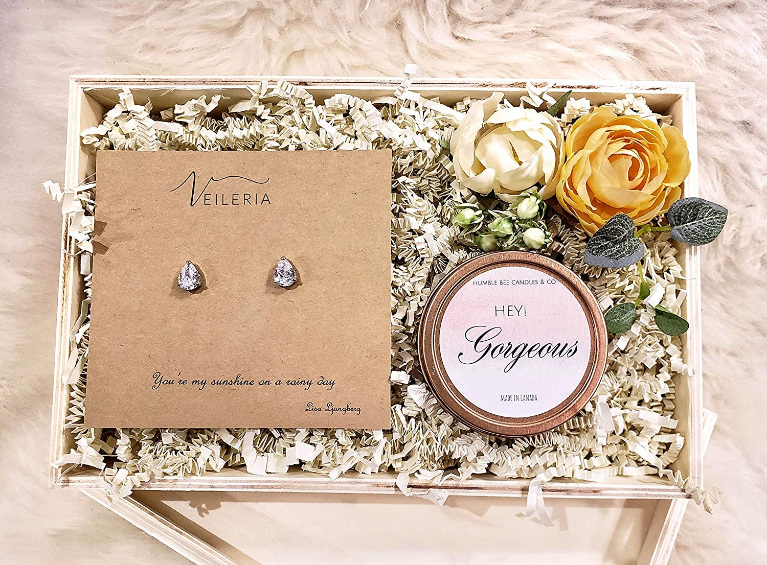 Humble Bee Veileria Floral Gift Box Set Soy Wax Scented Candle Pear Shape Cubic Zirconia Earrings Luxury Gifts For Her Mother S Day Wife Girlfriend