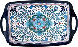 "Certified International Talavera Melamine 19"" x 12"" Rectangular Tray with Handles, Multicolor"