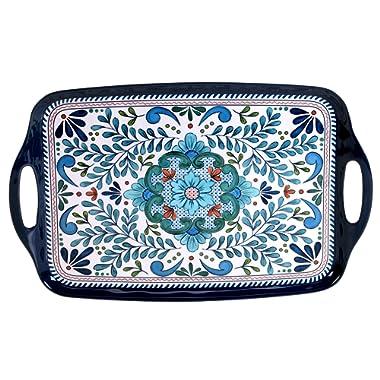 Certified International Talavera Melamine 19  x 12  Rectangular Tray with Handles, Multicolor