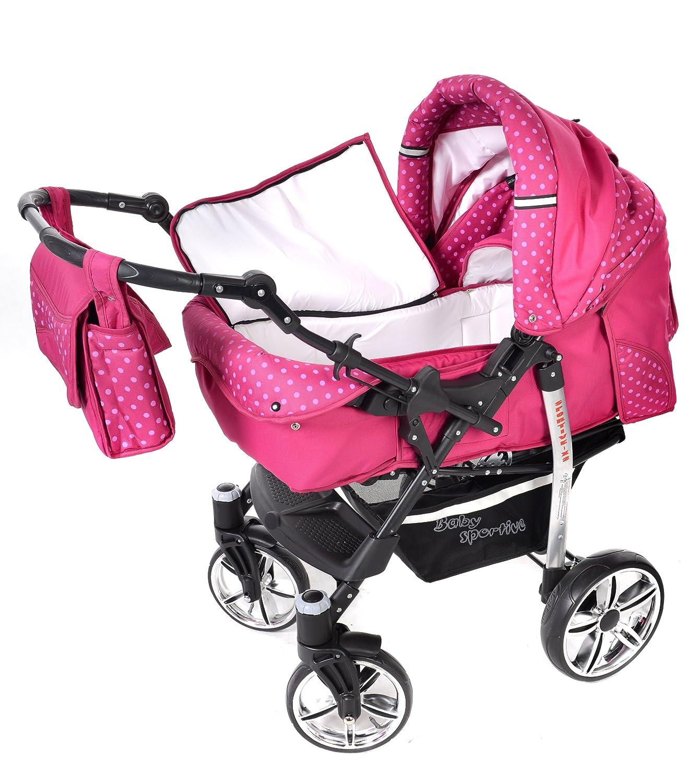 Sistema de viaje 3 en 1 Sistema de viaje 3 en 1, rosado, lunares silla de paseo RUEDAS GIRATORIAS y accesorios carrito con capazo y silla de coche Sportive X2