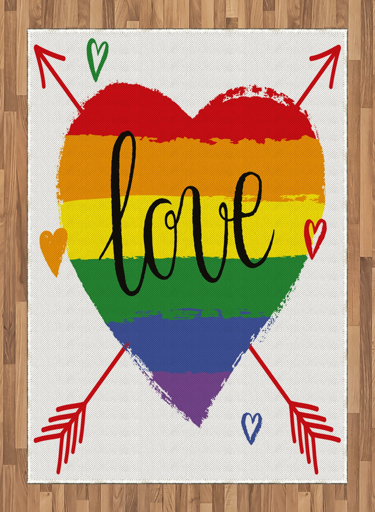 Pride Area Rug by Ambesonne, Hand Drawn Rainbow Heart with Arrows and Doodles Love Word Homosexuality Special Day, Flat Woven Accent Rug for Living Room Bedroom Dining Room, 5.2 x 7.5 FT, Multicolor