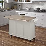 Liberty White Kitchen Cart with Wood Top by Home