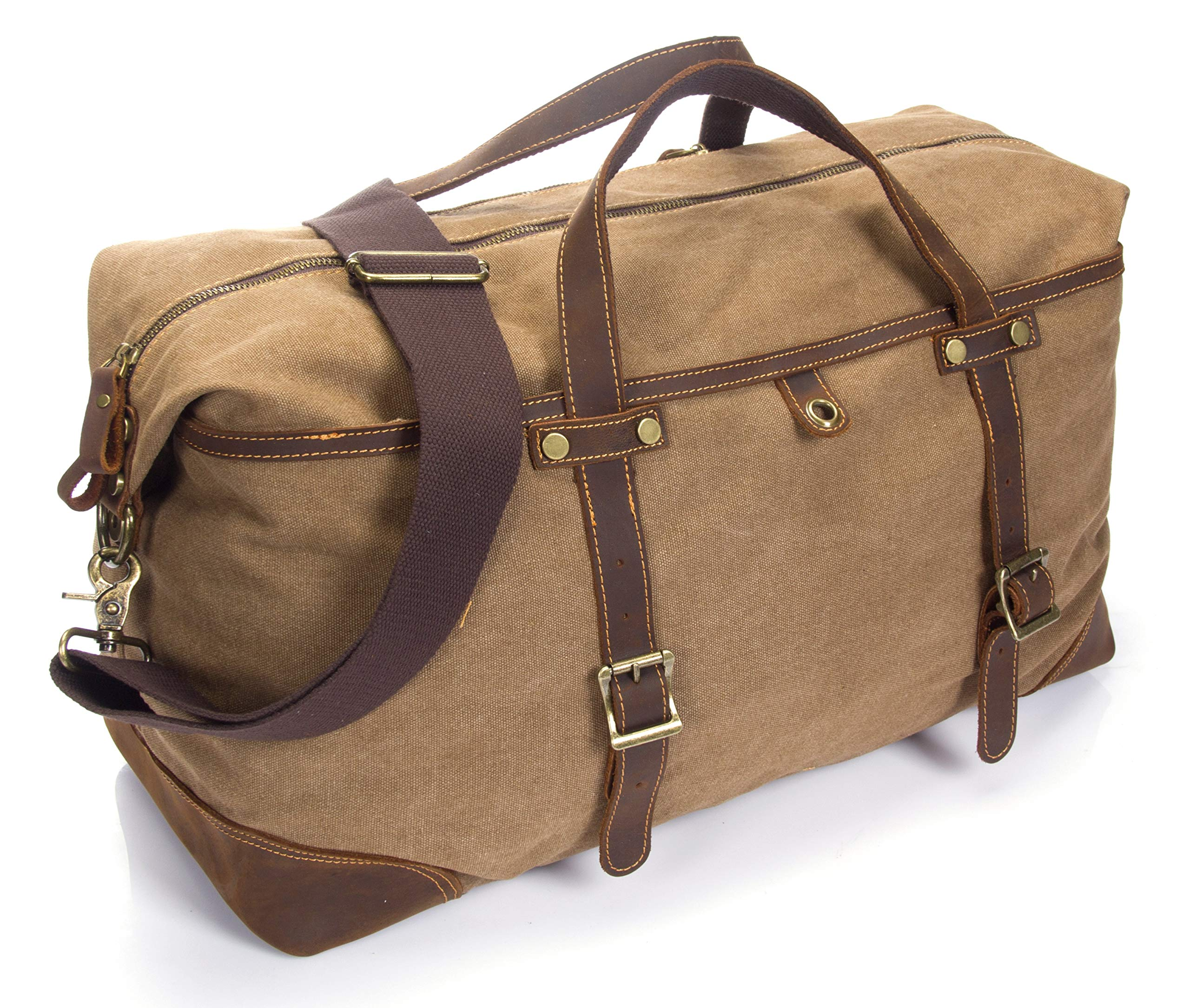 emissary Duffel Bag for Men | Mens Carry On Duffel Bag | Canvas and Leather Overnight Bag | Large Canvas Duffel Bag Men (Brown Weekender Bag) by emissary