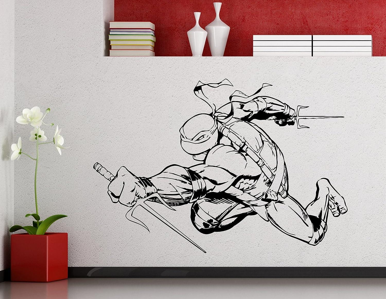 Raphael Turtles Ninja Wall Decal Superhero Sticker Comics Art Home Decoration Any Room Waterproof Sticker (136su)