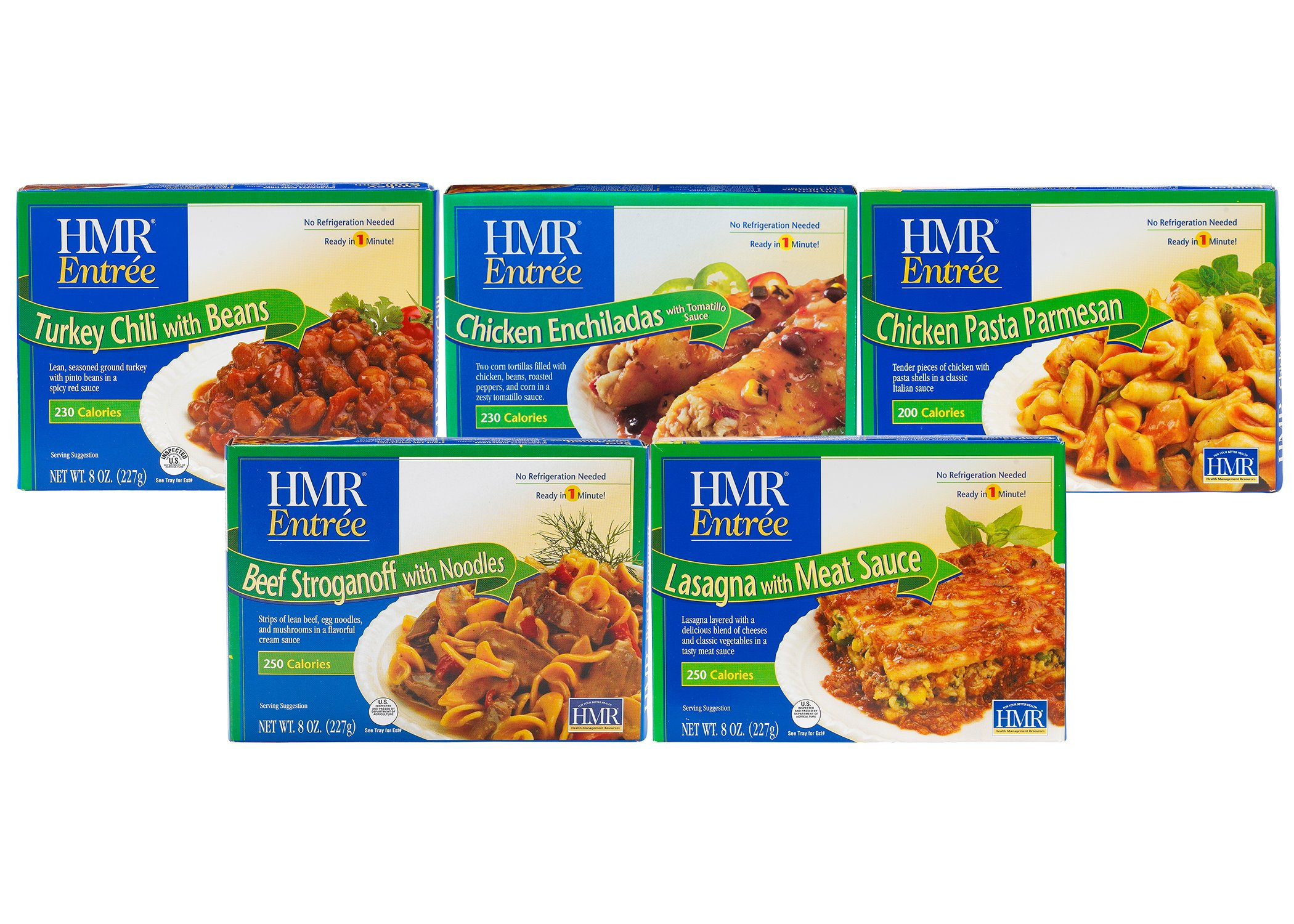 HMR Top 5 Entree Bundle: Chicken Pasta Parmesan, Beef Stroganoff with Noodles, Chicken Enchiladas with Tomatillo Sauce, Lasagna with Meat Sauce, Turkey Chili with Beans, 8 oz. serving (5 Count)