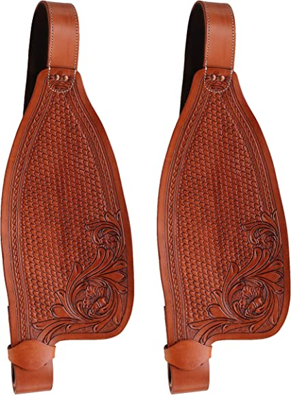 WESTERN TRAIL SADDLE FENDERS TOOLED LEATHER HORSE PLEASURE REPLACEMENT TACK PAIR