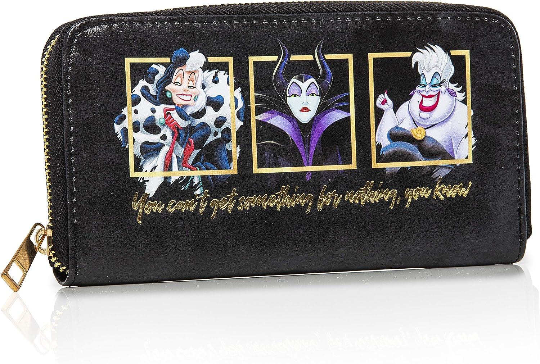 Disney Cartera Largo Mujer | Monederos Mujer | Cartera de Mujer Con Maléfica, Ursula y Cruella De Vil | Colecciones Exclusivas De Los Villanos, Regalos Originales Para Mujer