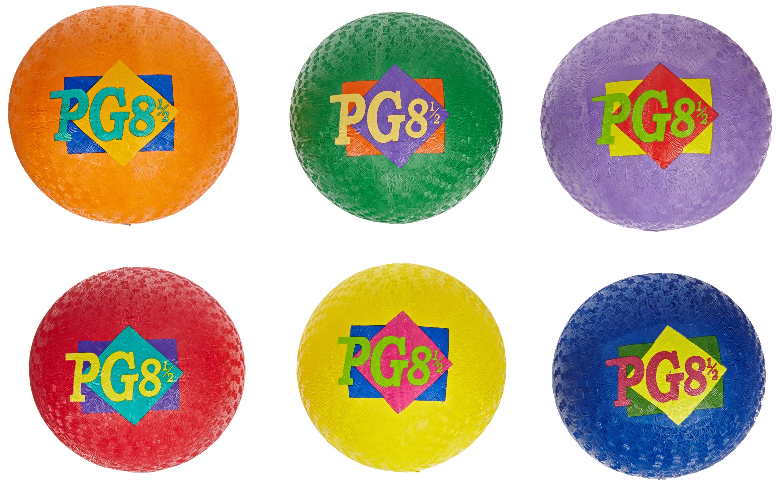 Sportime Playground Rubber Balls, Assorted Colors, Set of 6 by School Smart