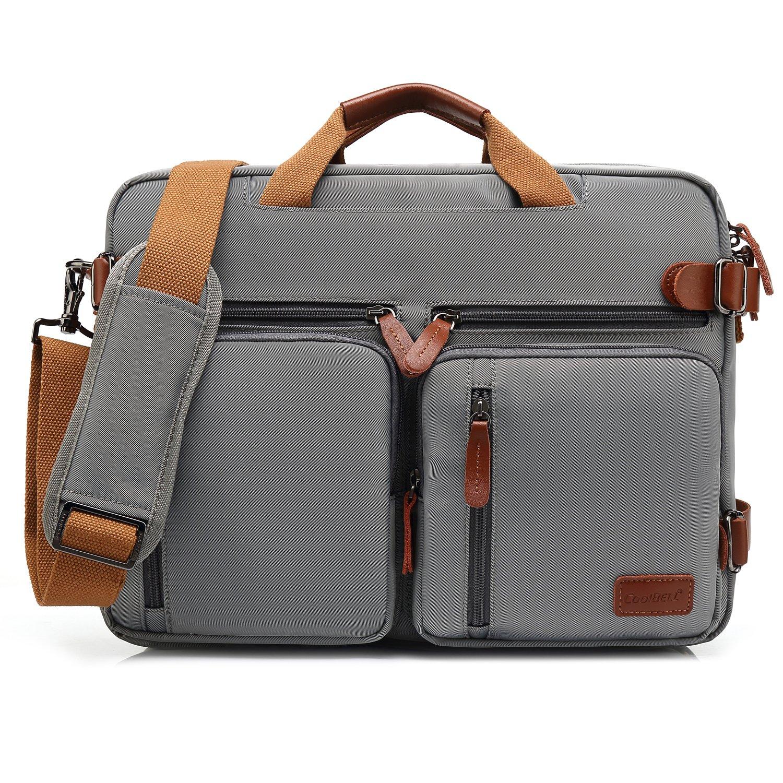 CoolBELL Convertible Backpack Messenger Bag Shoulder bag Laptop Case Handbag Business Briefcase Multi-functional Travel Rucksack Fits 15.6 Inch Laptop For Men/Women (Pure Grey)