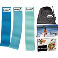 Bondi Booty Bands Resistance Bands for Legs and Butt - 3X Non Slip Exercise Bands Resistance Band Set with Transformation Plan. HD Cotton Elastic Band. Workout Bands for Home Workout or Gym Fitness