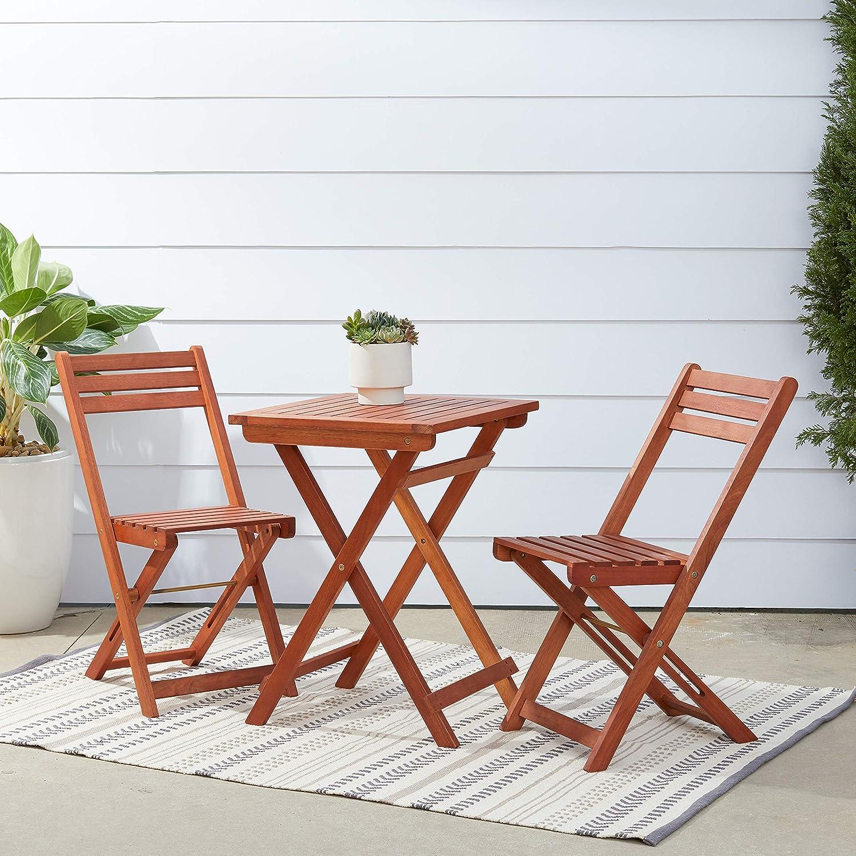 Amazon Com Vifah Malibu Outdoor Patio 3 Piece Wood Bistro Set Garden Outdoor