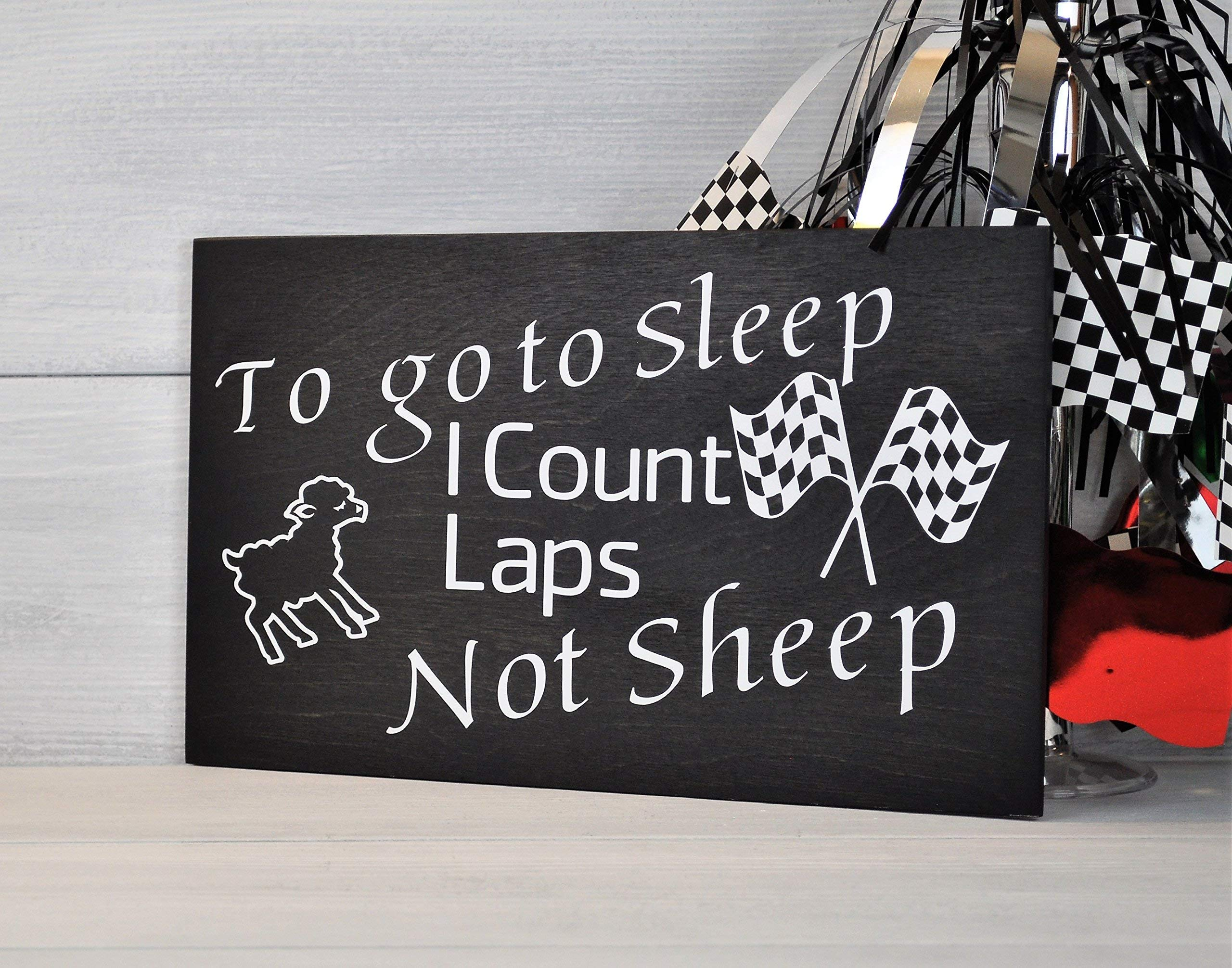 Nursery Decor, I Count Laps Not Sheep, Racing Decor, Childs Room Decor, Mothers Day Gift, Baby Shower Gift, Racing Nursery, Race Track, Nascar Gift by checkeredflagswag