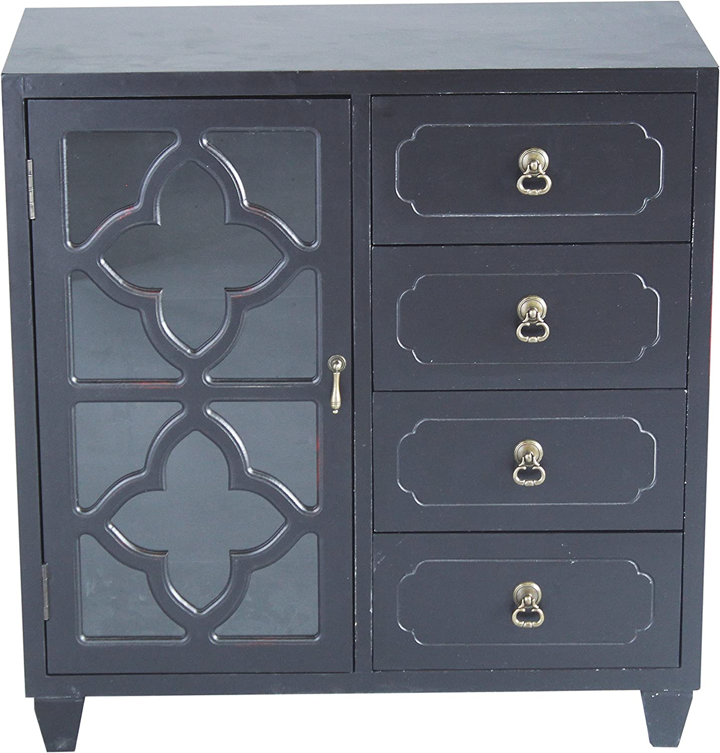 Heather Ann Creations 4 Drawer Wooden Accent Chest and Cabinet, Clover Pattern Grille with Glass Backing, 30.75 H x 29.5 W, Black