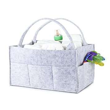 Nursery Storage Diaper Organizer Caddy: Portable Grey Baby Tote Bag With  Handles