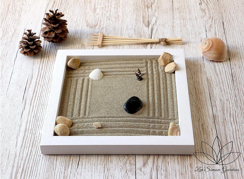 Jardin zen para Interior de Hogar en estilo Feng shui.Lleva Velas Arena Conchas y Rastrillo (personalizable) ॐ Zensimongardens®: Amazon.es: Handmade