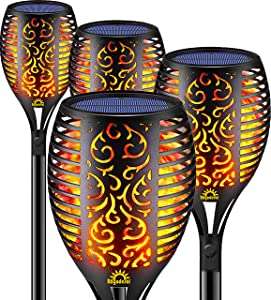 Solar Flame Torch Lights Outdoor, Decorative Pack of 4 piece Lamp with Dancing Flames Torches Landscape, Waterproof Outdoors Garden Patio Deck Decorations Lighting with Auto On/Off Security Light