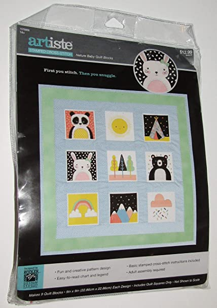 Baby Quilt Blocks.Amazon Com Nature Baby Quilt Blocks 9 Stamped Cross Stitch Kit