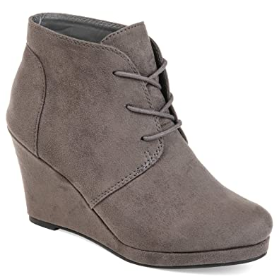 0aebd3fbbe7 Journee Collection Women s Faux Suede Wedge Booties Grey