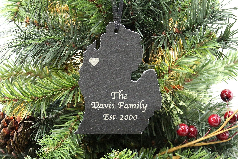 Amazon Com Custom Michigan Slate Christmas Ornament Personalized