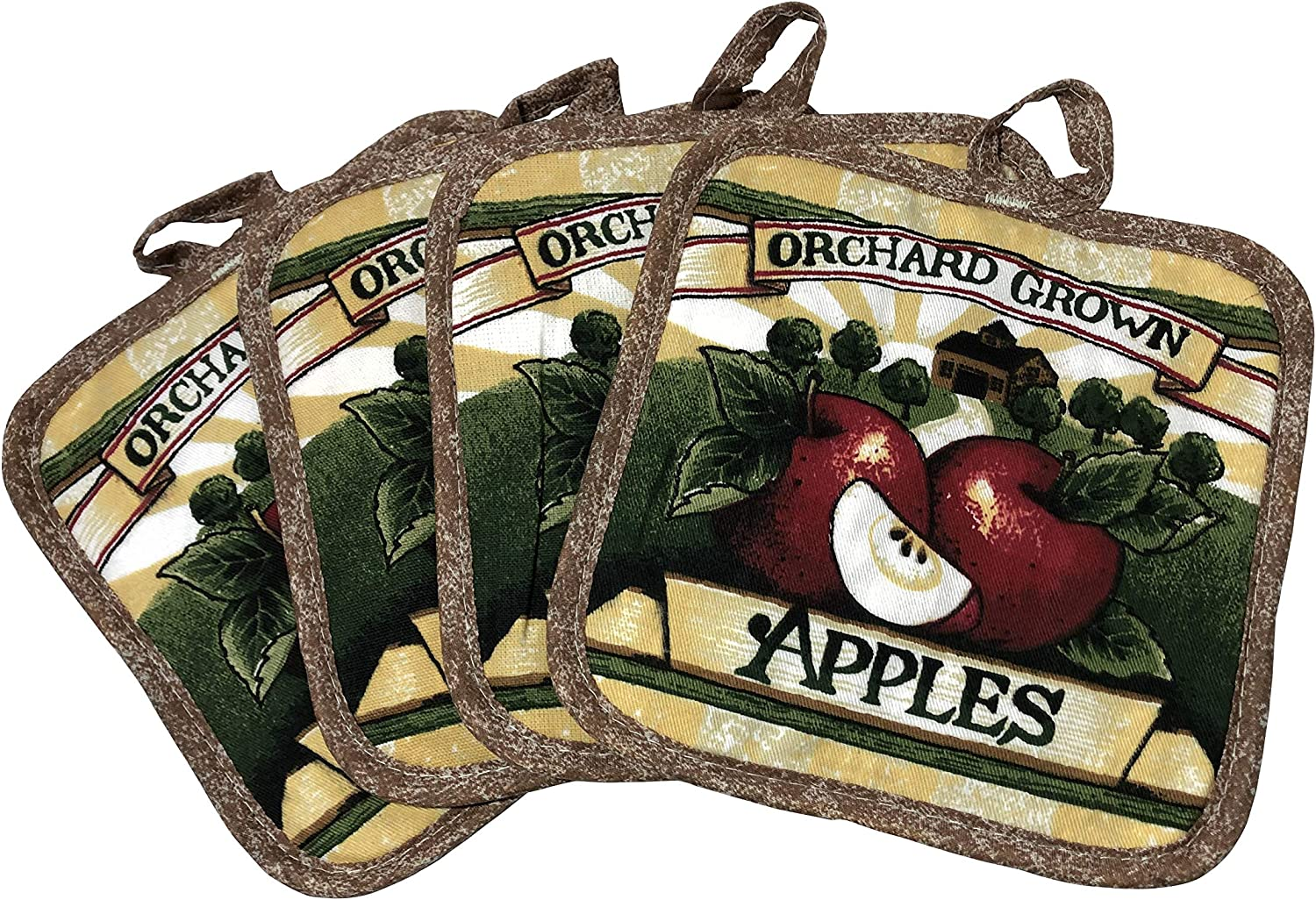 Set of Four Pot Holders for Kitchen Six Different Designs (Orchard Grown Apples)
