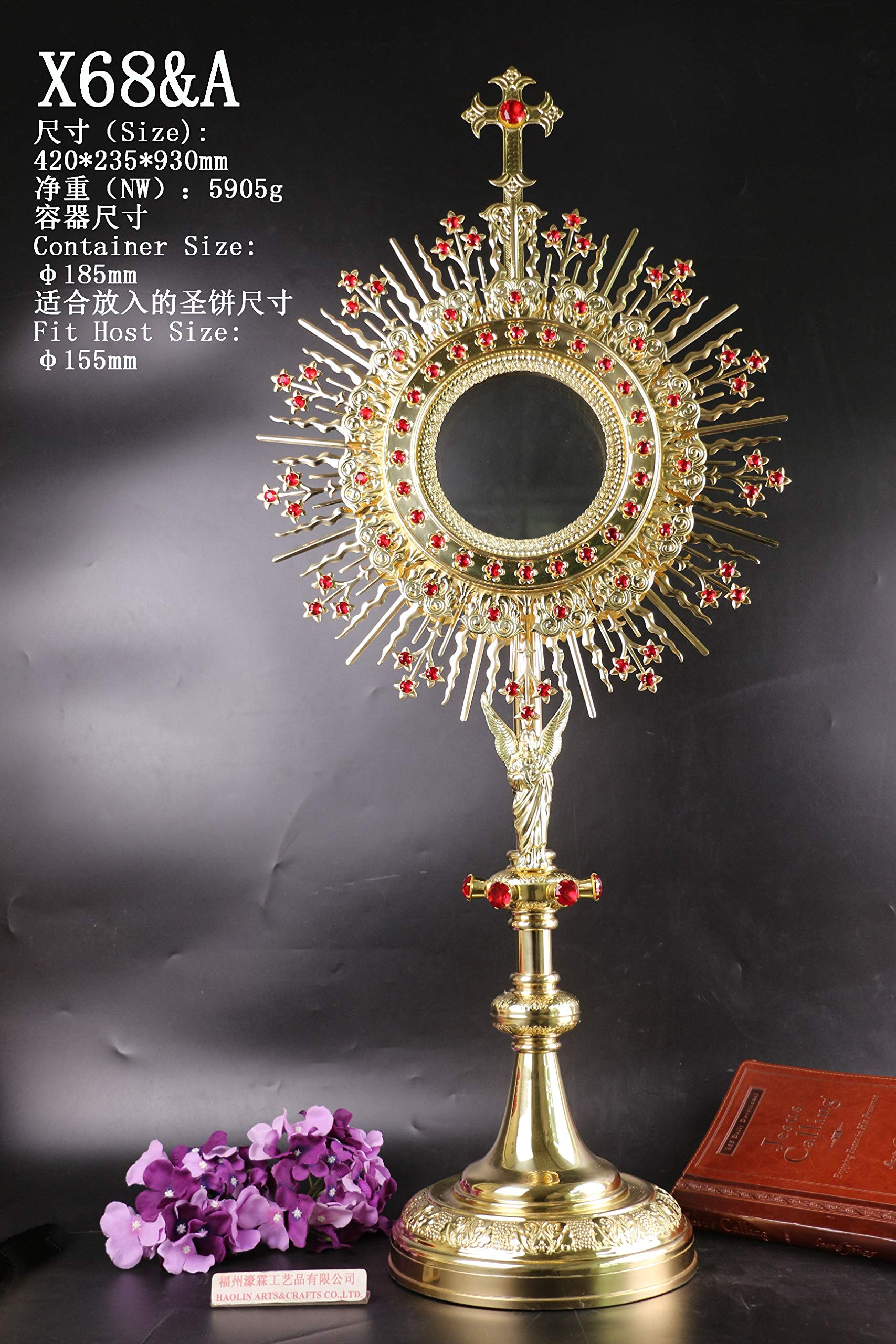 Large Brass Monstrance Reliquary with Lunette for Church, 36 3/5''High X68&A