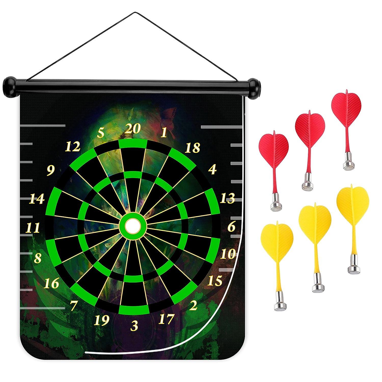 15インチMagnetic Dart Board Double Sided Hanging Dart Board Set and Bullseyeゲーム。Green Girl B079KCCBFV