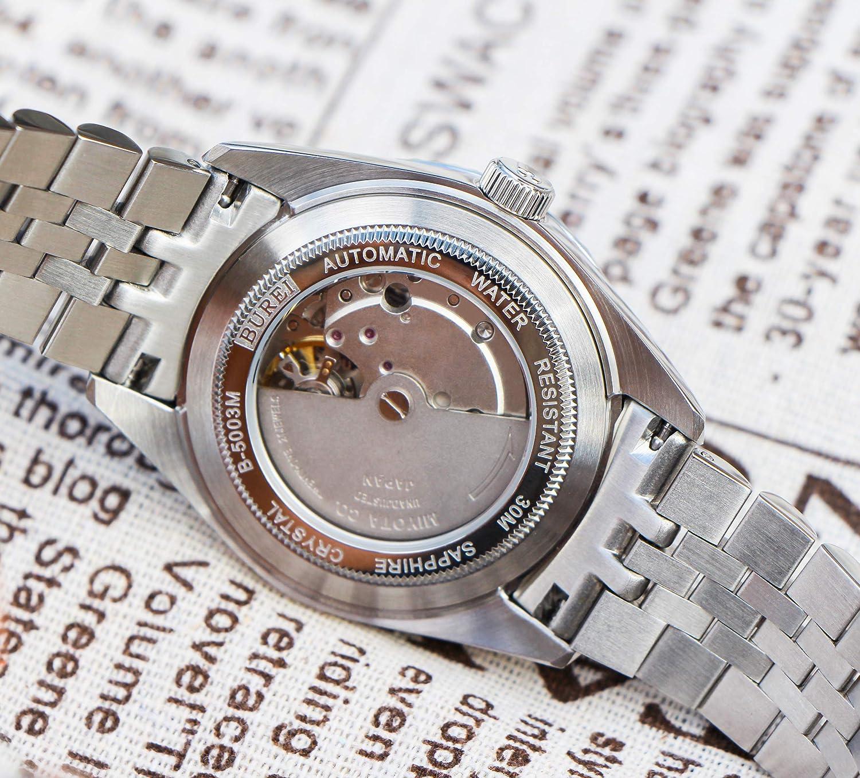 BUREI Reloj Elegante Casual de Hombres Caballeros de Cuerda automática Reloj mecánico con Cristal de Zafiro Fecha y Calendario: Amazon.es: Relojes