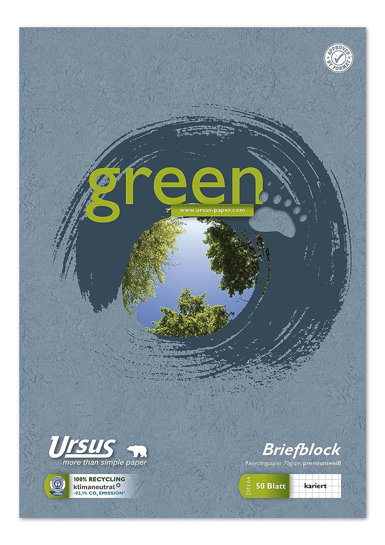 Ursus Green 608585020 Briefblock A4 50 Blatt 70g/qm 5mm kariert
