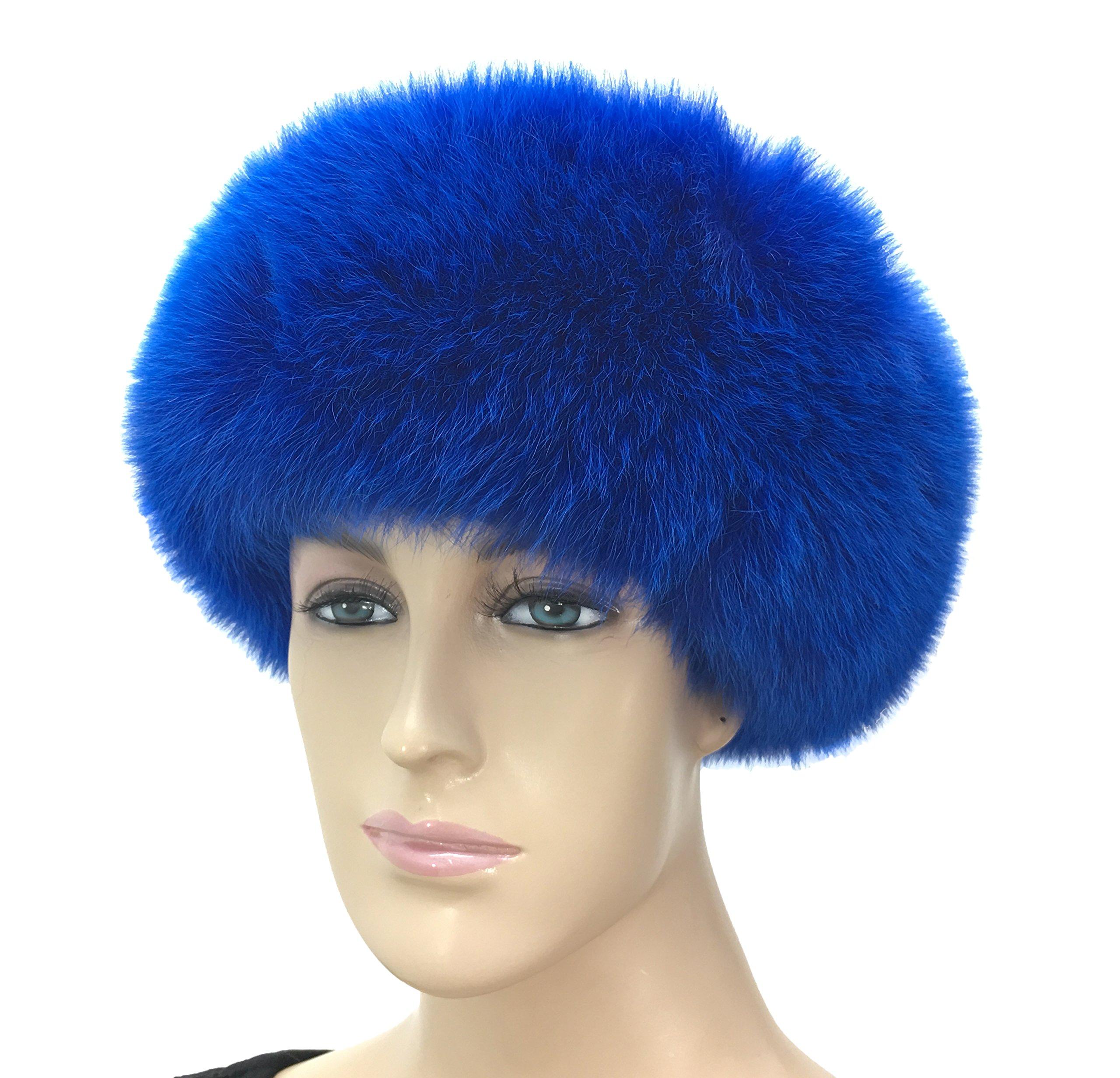 HIMA 100% Real Fox Fur Headband (Blue) by Hima