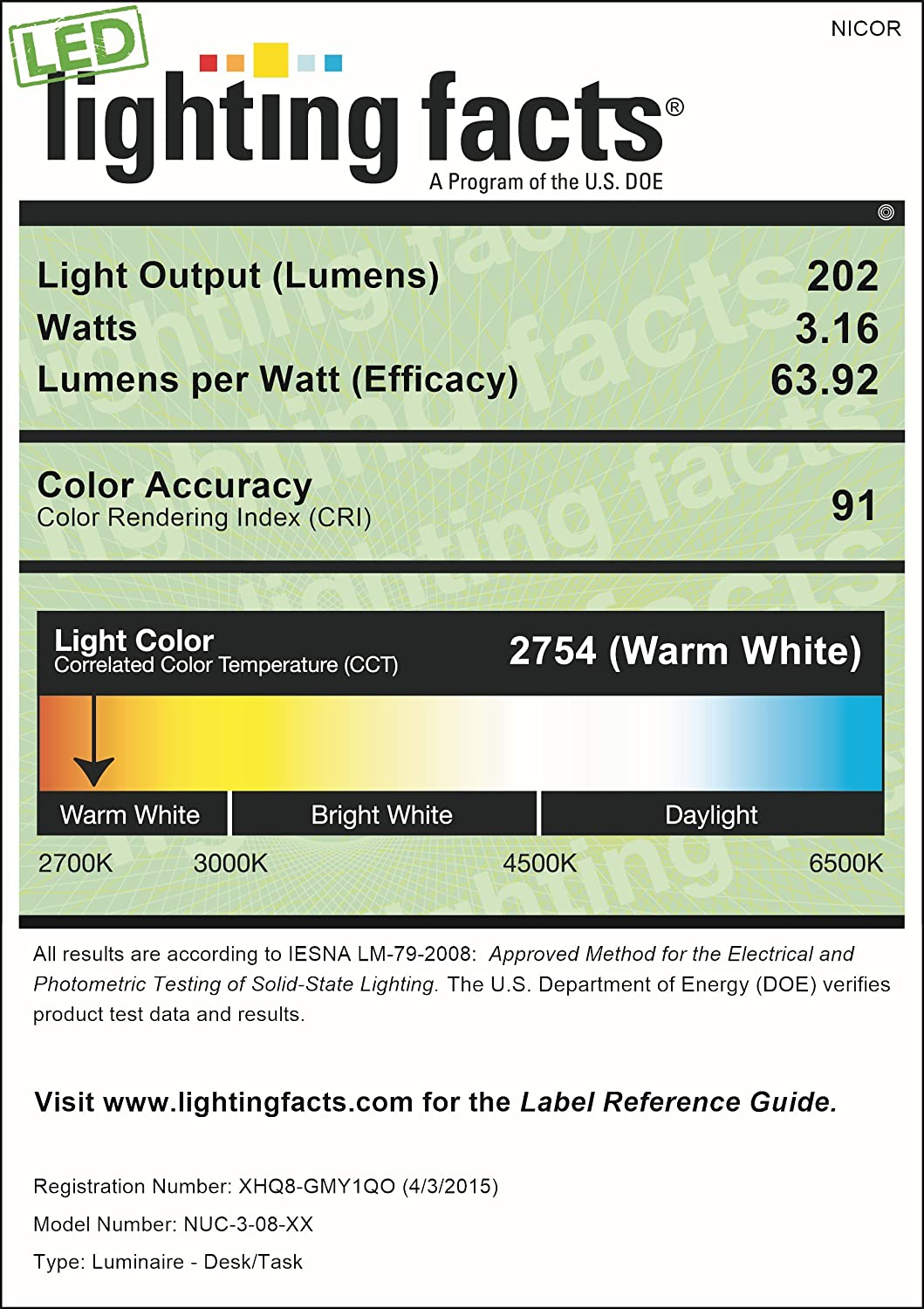 White NUC-3-08-WH NICOR Lighting Slim 8-Inch Dimmable LED Under-Cabinet Light Fixture